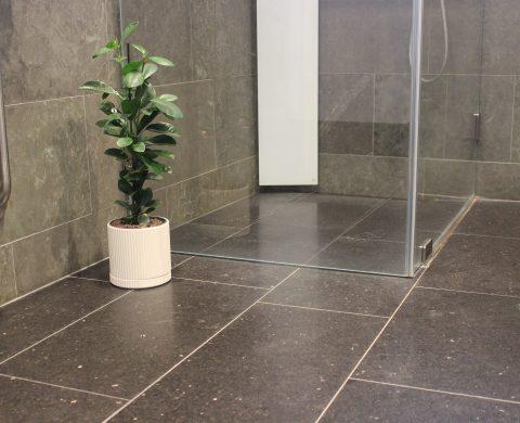 Svart Biskopsgårdendiabas som golv i badrum